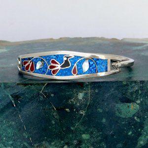Taxco Mexican Bracelet Blue Stone Bird Motif K08